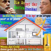 SilberRakete_Angst-Zentralbanker-Draghi-Bernanke-Haus-Gold-durch-Dach-Mob-Keller