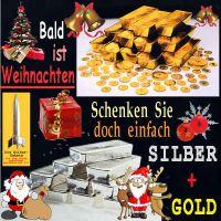 SilberRakete_Bald-Weihnachten-GOLD-SILBER-schenken-Barren-Weihnachtsmann
