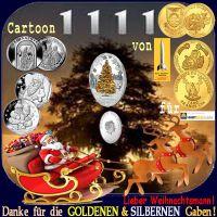 SilberRakete_Cartoon-1111-Weihnachtsmann-Kutsche-Rentiere-Danke-fuer-GOLDENE-SILBERNE-Gaben-Muenzen-Weihnachten