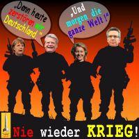 SilberRakete_Nie-wieder-Krieg-Merkel-Gauck-Leyen-Maiziere-Heute-D-morgen-Welt