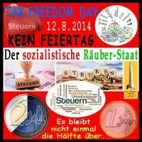 SilberRakete_Oesterreich-Tax-Freedom-Day-12Aug2014-Steuern-sozialistischer-Raeuberstaat-Euro-Haelfte