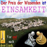 SilberRakete_Preis-der-Wissenden-ist-EINSAMKEIT-Schafherde-GOLD-SILBER-Stapel