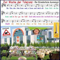 SilberRakete_Woche-der-Toleranz-Merkel-Kanzleramt-Lied-Ihr-Kinderlein-kommet-Falle-Geld-Euro-Achtung-Schwarze-Schafe
