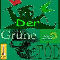 SilberRakete_Der-Gruene-Tod-Buendnis90-DieGruenen-Figur-Rot-Gruene-Fahnen-Totenschaedel