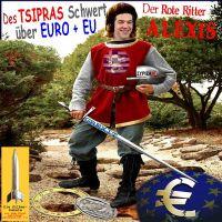 SilberRakete_Der-Rote-Ritter-Alexis-Tsipras-SYRIZA-Schwert-ueber-Euro-und-EU-GREXIT-Euro-kaputt-Eule