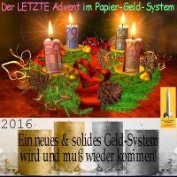 SilberRakete_Der-letzte-Advent-im-Papiergeldsystem-Euro-Geldscheine-Kranz-Kerzen-GOLD-SILBER