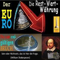 SilberRakete_EURO-Segment-RestWertWaehrung-Pfeil-Bruch-Sein-oder-Nicht-sein-Shakespeare
