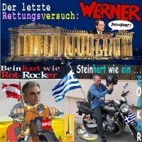 SilberRakete_Griechenland-letzte-Rettung-Draghi-Werner-Beinhart-Faymann-Varoufakis-Motorrad-Zocker-Euro