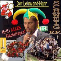 SilberRakete_Leinwand-Narr-Till-Schweiger-Narrenkappe-Helft-allen-Fluechtlingen-SCHWEIG-ER