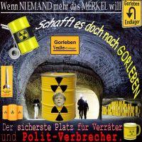 SilberRakete_Merkel-nach-Gorleben-gelbeFaesser-Warnung-Verraeter-Politverbrecher-Endlager-Tasse