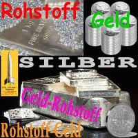 SilberRakete_SILBER-Rohstoff-Geld-Geldrohstoff-Rohstoffgeld-Granulat-Barren-Muenzen