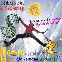 SilberRakete_Sicherheit-bei-Geldanlage-Eisspalte-Kletterer-Seil-Dollar-Euro-unsicher-GOLD-SILBER-sicher