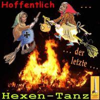 SilberRakete_Walpurgisnacht2015-Hexen-Merkel-vdLeyen-ueber-Feuer-Hoffentlich-letzter-Hexentanz